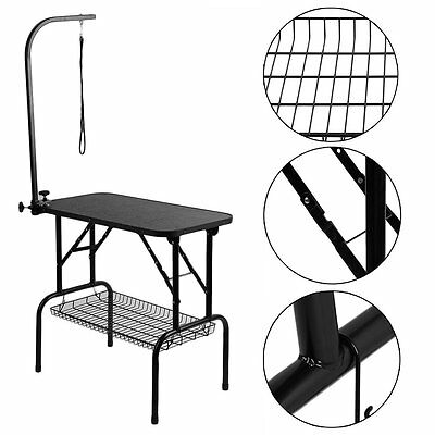 Pet Dog Cat Grooming Table Mobile Portable Show Table W/ Adjustable Arm Noose AY