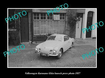Old Large Historic Photo Of 1957 Volkswagen Karmann Ghia Launch Press Photo