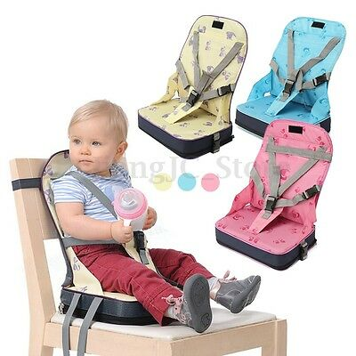 Baby Toddler Foldable Dining High Chair Feeding Booster Seat With Harness Safety