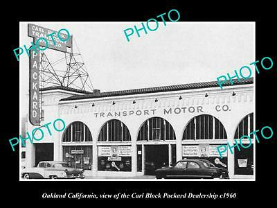 OLD LARGE HISTORIC PHOTO OF OAKLAND CALIFORNIA, THE PACKARD CAR DEALERSHIP c1960