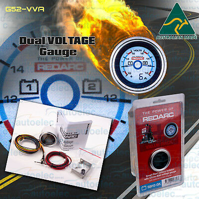Redarc 52Mm Battery System Dual Voltmeter & Current Monitor Gauge G52Vva Repack