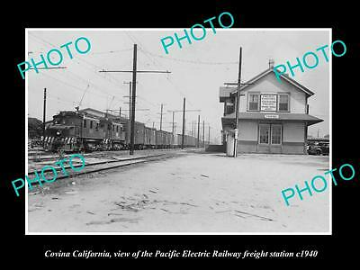 OLD HISTORIC PHOTO OF COLVINA CALIFORNIA, PACIFIC ELECTRIC RAILWAY STATION c1940