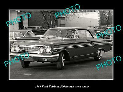 Old Large Historic Photo Of 1964 Ford Fairlane 500 Car Launch Press Photo