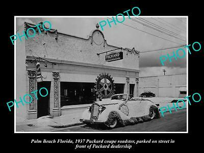 OLD LARGE HISTORIC PHOTO OF PALM BEACH FLORIDA, THE PACKARD CAR DEALERSHIP c1937