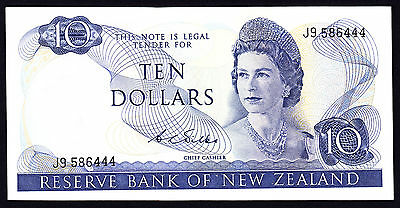 New Zealand $10 Wilks 1968 - 1975  gVF Note  Prefix J9  P. 166b  QEII RARE
