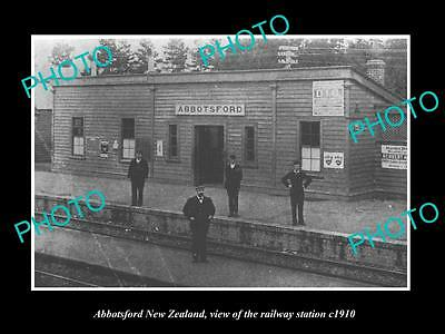 OLD LARGE HISTORIC PHOTO OF ABBOTSFORD NEW ZEALAND, THE RAILWAY STATION c1910