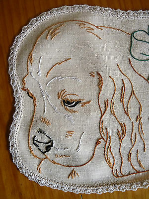 COCKER SPANIEL PUPPIES Vintage Hand Embroidered Duchess/Dressing Table Set