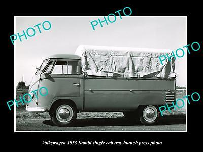Old Large Historic Photo Of 1953 Volkswagen Kombi S/cab Launch Press Photo 1