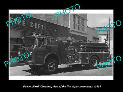 OLD LARGE HISTORIC PHOTO OF FAISON NORTH CAROLINA, THE FIRE STATION TRUCK c1960