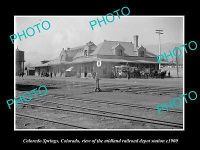 OLD LARGE HISTORIC PHOTO OF COLORADO SPRINGS, THE RAILROAD DEPOT STATION c1900