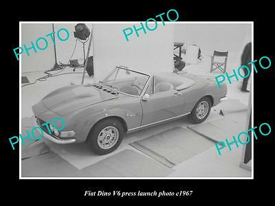 OLD LARGE HISTORIC PHOTO OF FIAT DINO V6 CAR LAUNCH PRESS PHOTO c1967 2