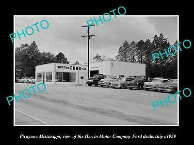 OLD LARGE HISTORIC PHOTO OF PICAYUNE MISSISSIPPI, THE FORD MOTOR GARAGE c1950