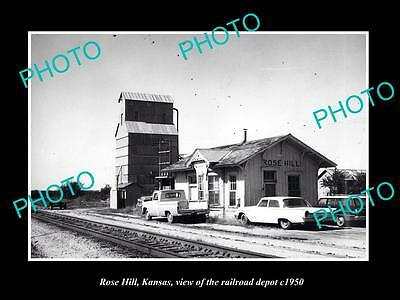 OLD LARGE HISTORIC PHOTO OF ROSE HILL KANSAS, THE RAILROAD DEPOT STATION c1960
