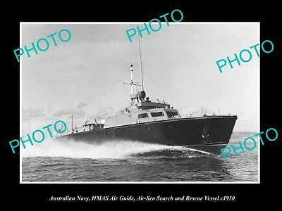 OLD LARGE HISTORIC PHOTO OF AUSTRALIAN NAVY, HMAS AIR GUIDE RESCUE VESSEL c1950