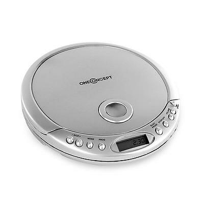 Brand New Oneconcept Portable Cd Player Headphones Antishock Lcd Display Silver