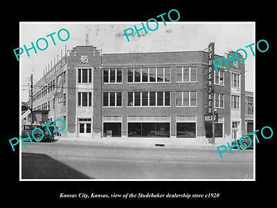 OLD LARGE HISTORIC PHOTO OF KANSAS CITY, THE STUDEBAKER DEALERS STORE c1920