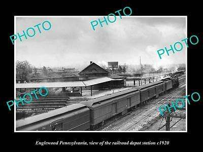 OLD LARGE HISTORIC PHOTO OF ENGLEWOOD PENNSYLVANIA, THE RAILROAD DEPOT c1920