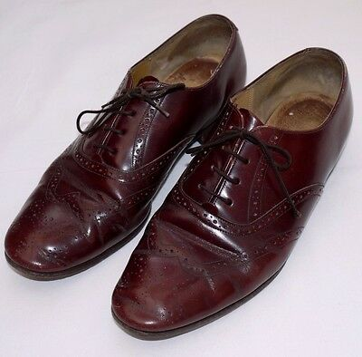 CLASSIC 80's VINTAGE BARKERS ALL LEATHER BROWN OXFORD BROGUE SHOES UK 8-9 EU42.5