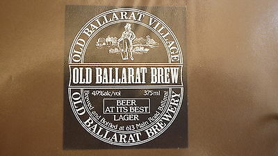 Old Australian Beer Label, Old Ballarat Brewery, Lager