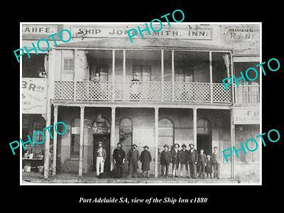 OLD LARGE HISTORIC PHOTO OF PORT ADELAIDE SA, VIEW OF THE SHIP INN HOTEL c1880