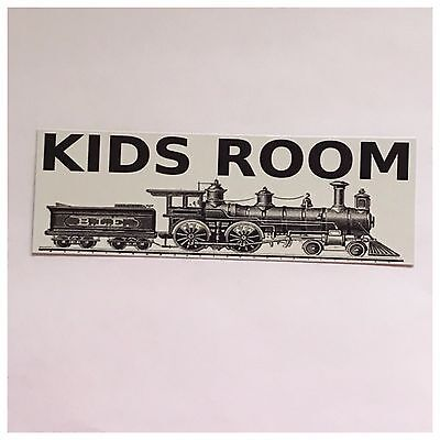 Kids Room Playroom Toys Games Door Vintage Tin/Plastic Train Wall Plaque Chic