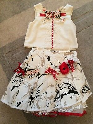 Darlings Spanish Style Girls Skirt & Top Set Age 2 Red Cream Flowers And Bows