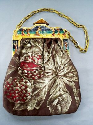Stylish Vintage Art Deco Egyptian Revival Celluloid Handle & Frame Evening Bag