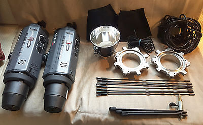 BOWENS Esprit II 1000 TWIN Flash Head kit 2 heads BW-2066 softboxes/stand/extras
