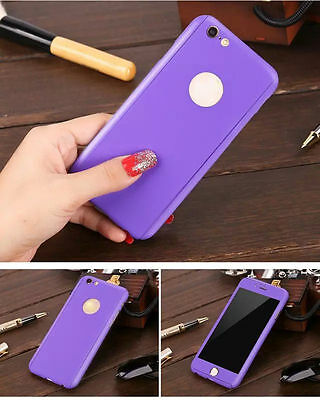 Hybrid 360° Ultra Thin Purple Case+Tempered Glass For iPhone 5/5s {Bx22