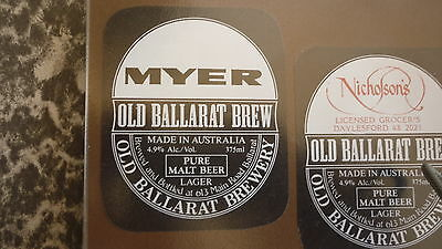 Old Australian Beer Label, Old Ballarat Brewery, Myers
