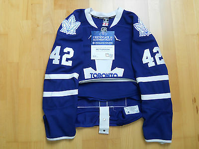 Toronto Maple Leafs 2013/14 BOZAK #42 GAME WORN USED Jersey COA NHL Edge 2.0