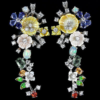 Real Songea Multi Color Sapphire,mother Of Pearl-Cz Sterling 925 Silver Earring