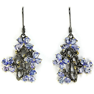 Graceful Natural Top Blue Tanzanite Sterling 925 Silver 2-Tone Flower Earring