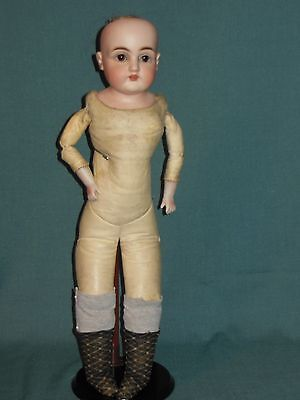 "Antique  20"" German  Doll.. Leather Body..sleep Eyes.. (154 Kestner ?)"