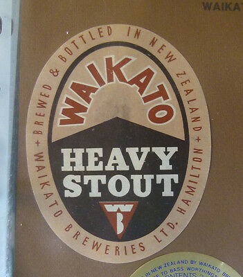 Vintage New Zealand Beer Label - Waikato Brewery, Heavy Stout