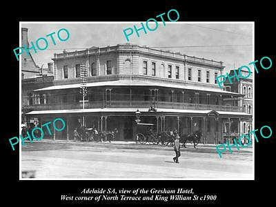 OLD LARGE HISTORIC PHOTO OF ADELAIDE SA, VIEW OF THE GERSHAM HOTEL c1900