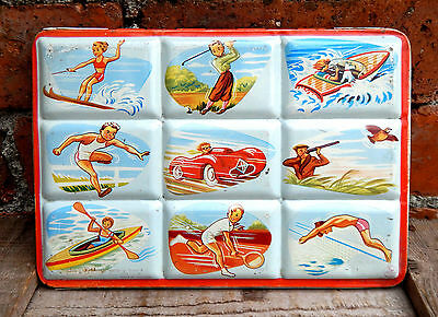 Vintage 1950s Water Colours Paint Box Tin Metal Sports - Page of London - Paints