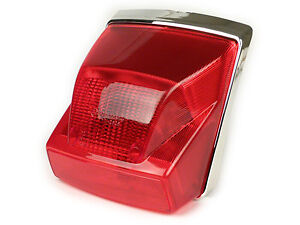 Vespa PX Disc 125 150 200 Rear Brake Light Unit - Red Lens Chrome Surround