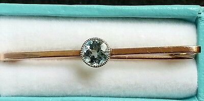 Victorian 9Ct Rose Gold Antique Aquamarine Tie Pin Or Brooch 9K