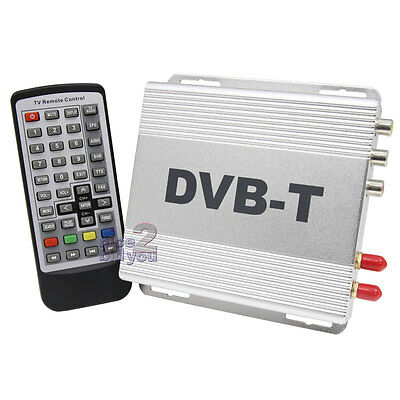 In Car DVB-T Digital TV DVB Tuner Freeview Receiver Box H.264 MPEG4 Two Antenna