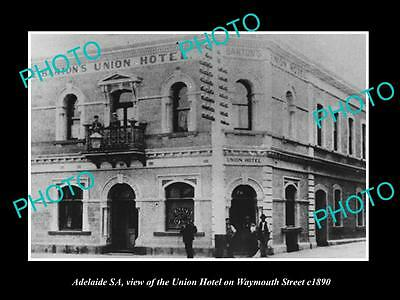 OLD LARGE HISTORIC PHOTO OF ADELAIDE SA, THE UNION HOTEL, WAYMOUTH St c1890