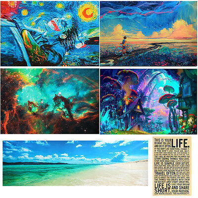 Psychedelic Trippy Art Fabric Silk Cloth Poster Home Decor 24''x36'' / 24''x77''