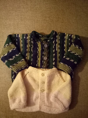 hand knitted baby clothes, boys jackets x2