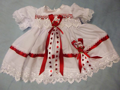 """Dream Girls 0-3 Months White Red Hearts French Guipure Dress Or 20-24"""" Reborn"""