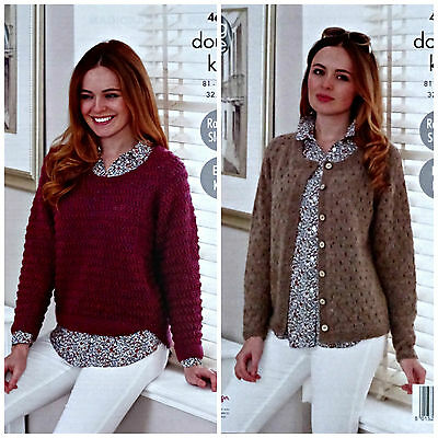 Easy Knit KNITTING PATTERN Ladies Long Sleeve Jumper &Cardigan DK King Cole 4684