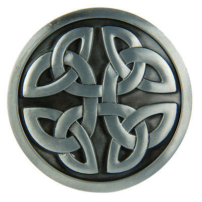 Alloy Vintage Embossed Silver Celtic Decorative Pattern Round Belt Buckle