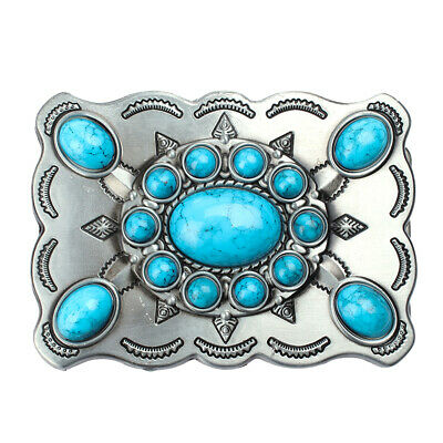 Men Classic Blue Turquoise Synthetic Stone Cowboy Cowgirl Belt Buckle Women