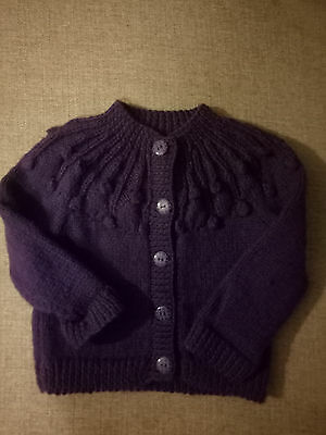 hand knitted toddler purple girls jumper