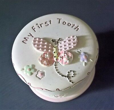 My First Tooth Keepsake Pot Baby Christening Gift NEW