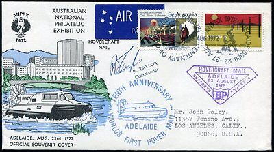 Australia ANPEX 1972 Adelaide 10th ann Hovercraft Mail cover signed by commander